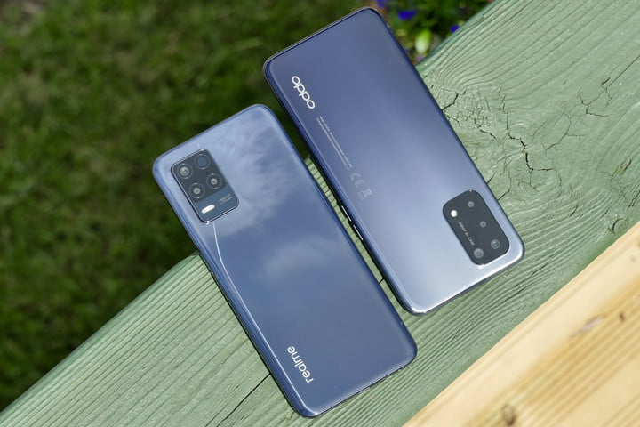 Oppo A54 5G and Realme 8 5G seen from the back