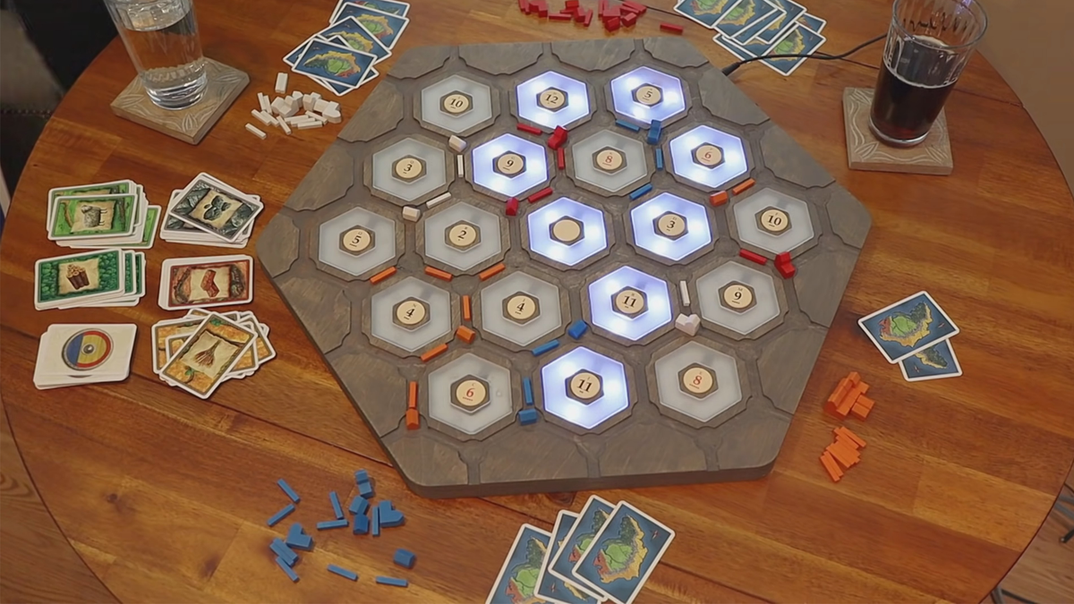 Top-down view of the custom Catan light-up board