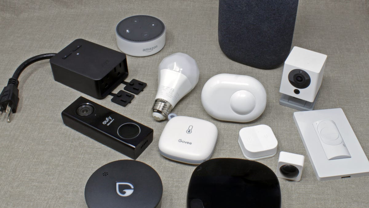 A water sensor, a video doorbell, a humidity sensor, wi-fi light bulb, smart switch, and more wi-fi powered smart home devices.