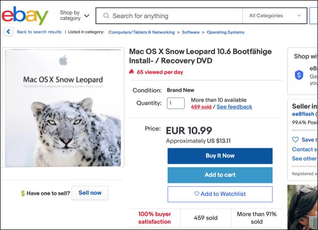 OS X Snow Leopard on eBay