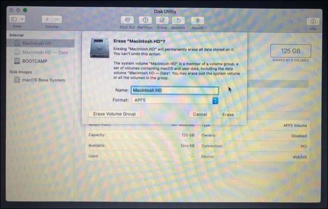Erase Partition in macOS Reovery/Installation Mode