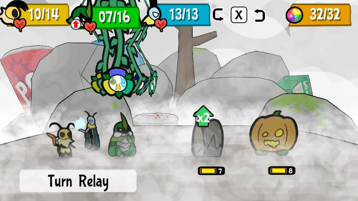 Character in battle in Bug Fables.