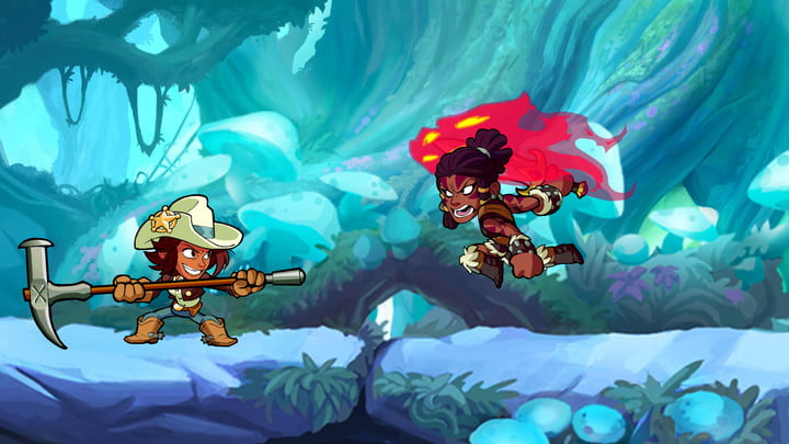 Characters battling in Brawlhalla.