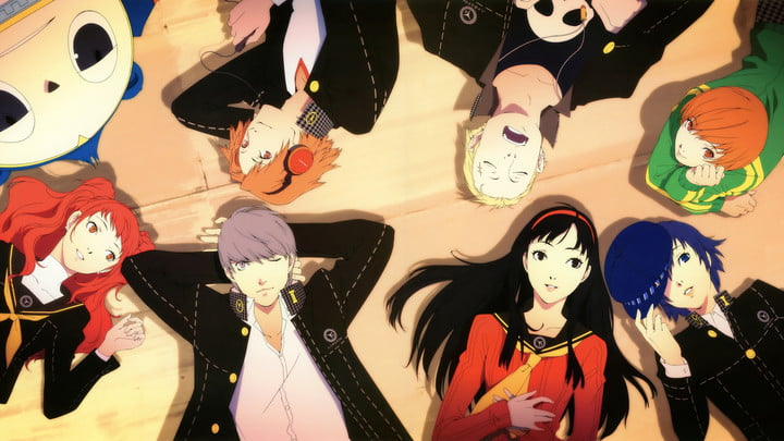Characters laying in a circle from Persona 4 Golden.