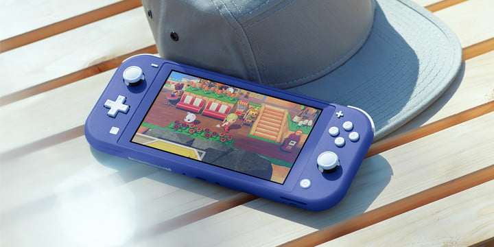 Blue Nintendo Switch Lite on a table.