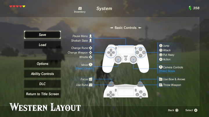 button layout for a PS4 controller in Breath of the Wild.