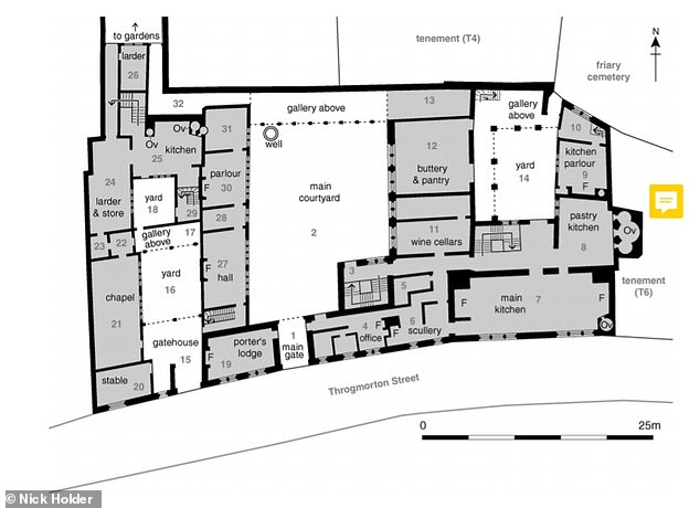 Detailed ground-floor plan of Thomas Cromwell's mansion. 'F' indicates fireplace; 'Ov' indicates oven. Scale 1:500
