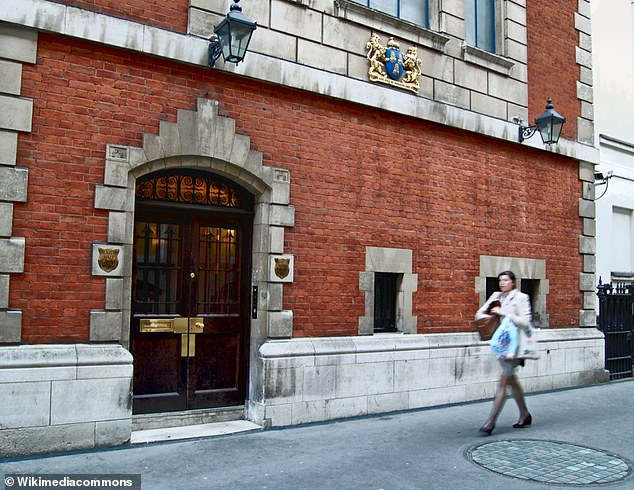 The Drapers' Company is now based at Drapers' Hall located in Throgmorton Street, near London Wall. Pictured is the a doorway from the late 17th-century Drapers' Hall, the replacement for Cromwell's burnt in the Great Fire of London