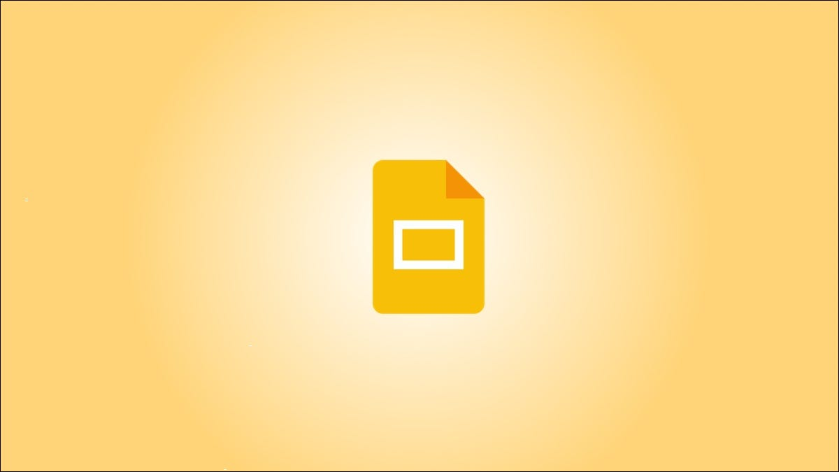 Google Slides logo against a yellow gradient background.