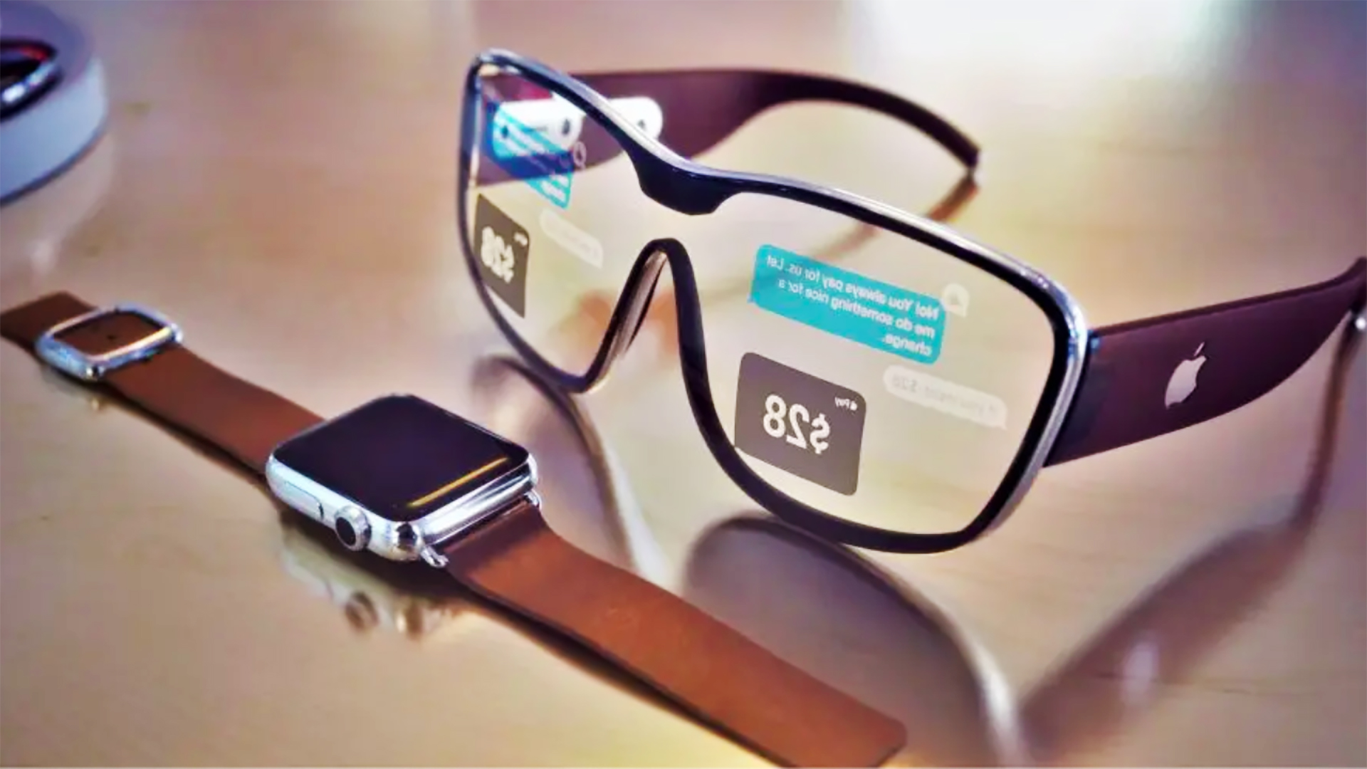A rendered mockup of what Apple Glasses might look like.