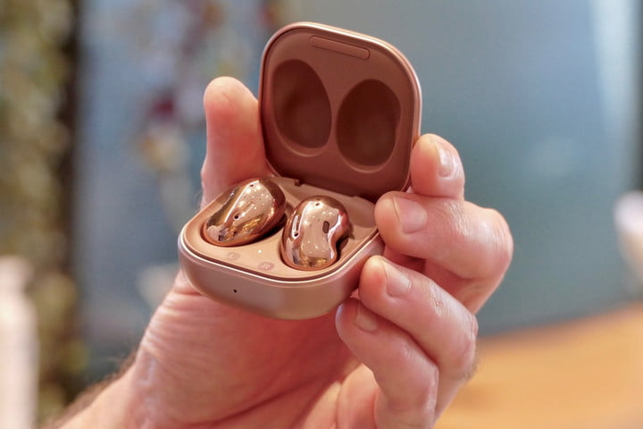 The Samsung Galaxy Buds Live inside their charging case.