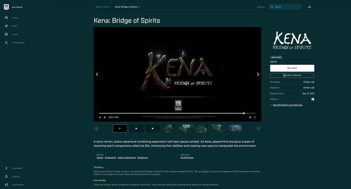 Kena: Bridge of Spirits on the Epic Games Store.