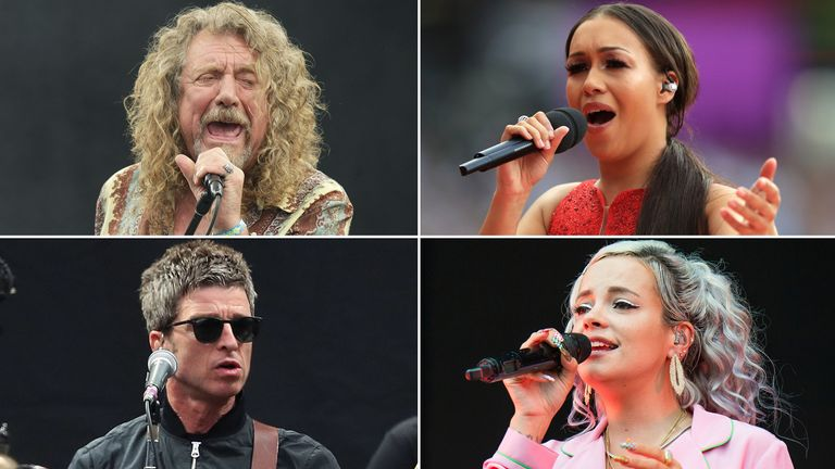 Robert Plant, Rebecca Ferguson, Lily Allen, Noel Gallagher. Pics: PA/AP