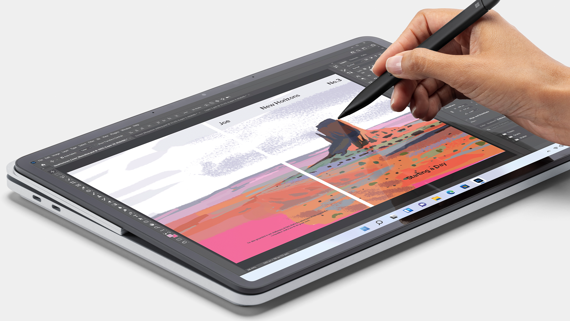 An artist drawing on the Surface Laptop Studio in tablet mode.