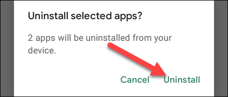 """Confirm by selecting """"Uninstall."""""""