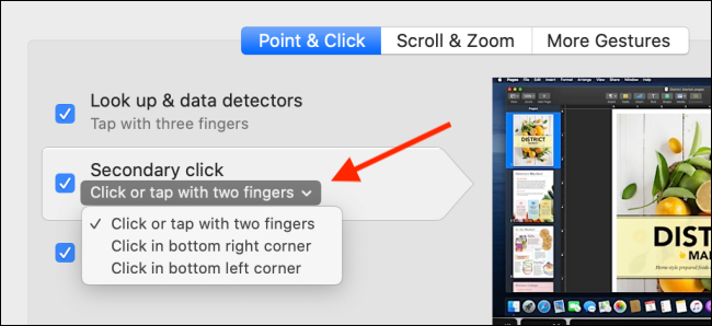 Select the trackpad options for right-click. menu