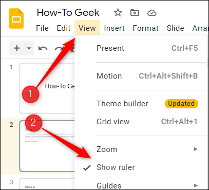 """Click """"View"""" and then select """"Show Ruler."""""""