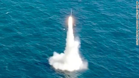 South Korea's first submarine-launched ballistic missile is test-fired from a 3,000-ton-class submarine at an undisclosed location in the waters of South Korea on September 15, 2021.