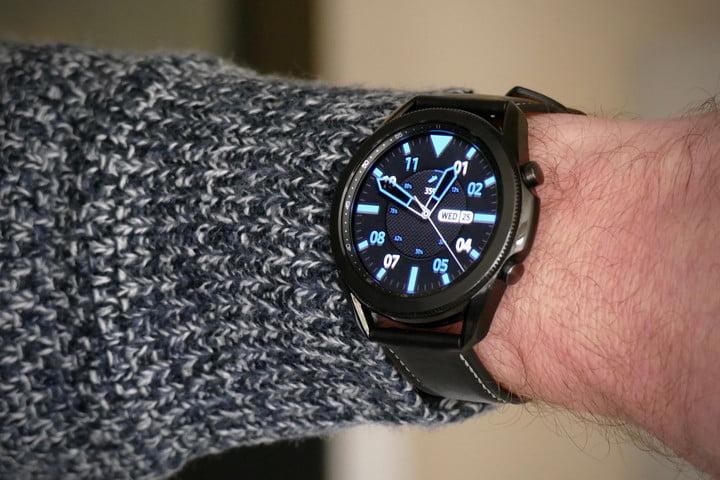 The Samsung Galaxy Watch 3 on the wrist.