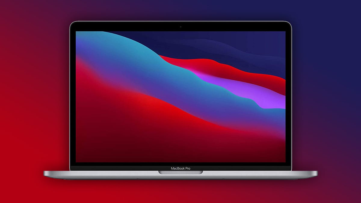 The MacBook Pro on a red and blue background.