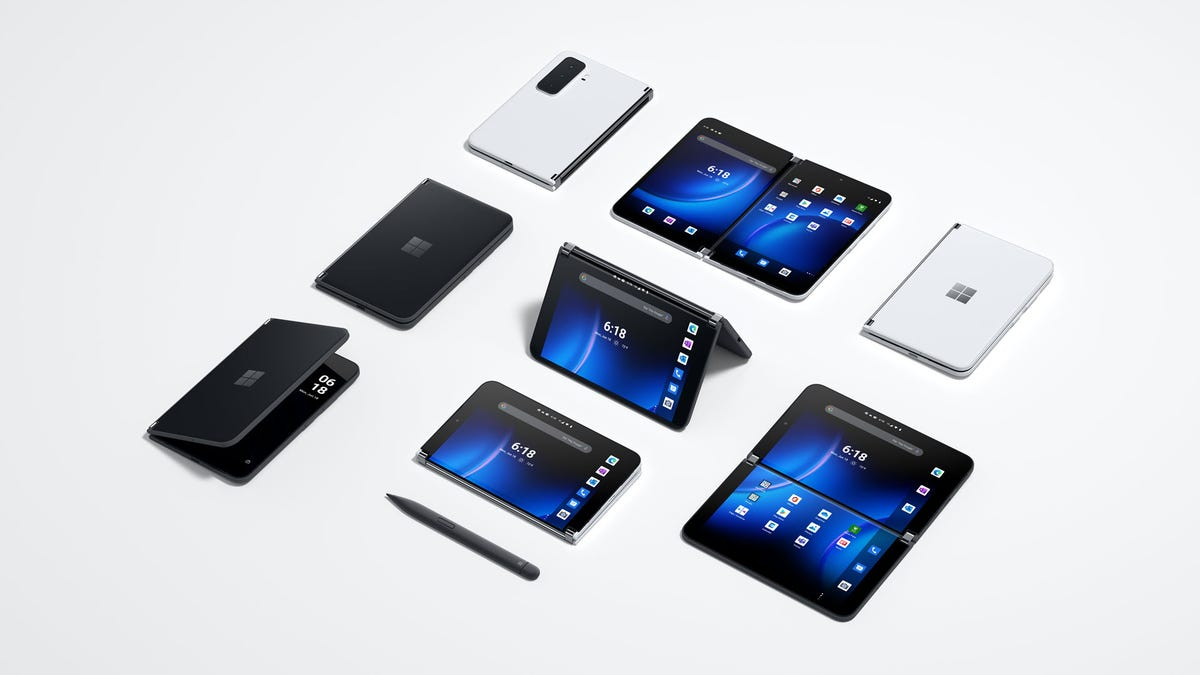 Several Microsoft Duo 2 devices in different folded positions.