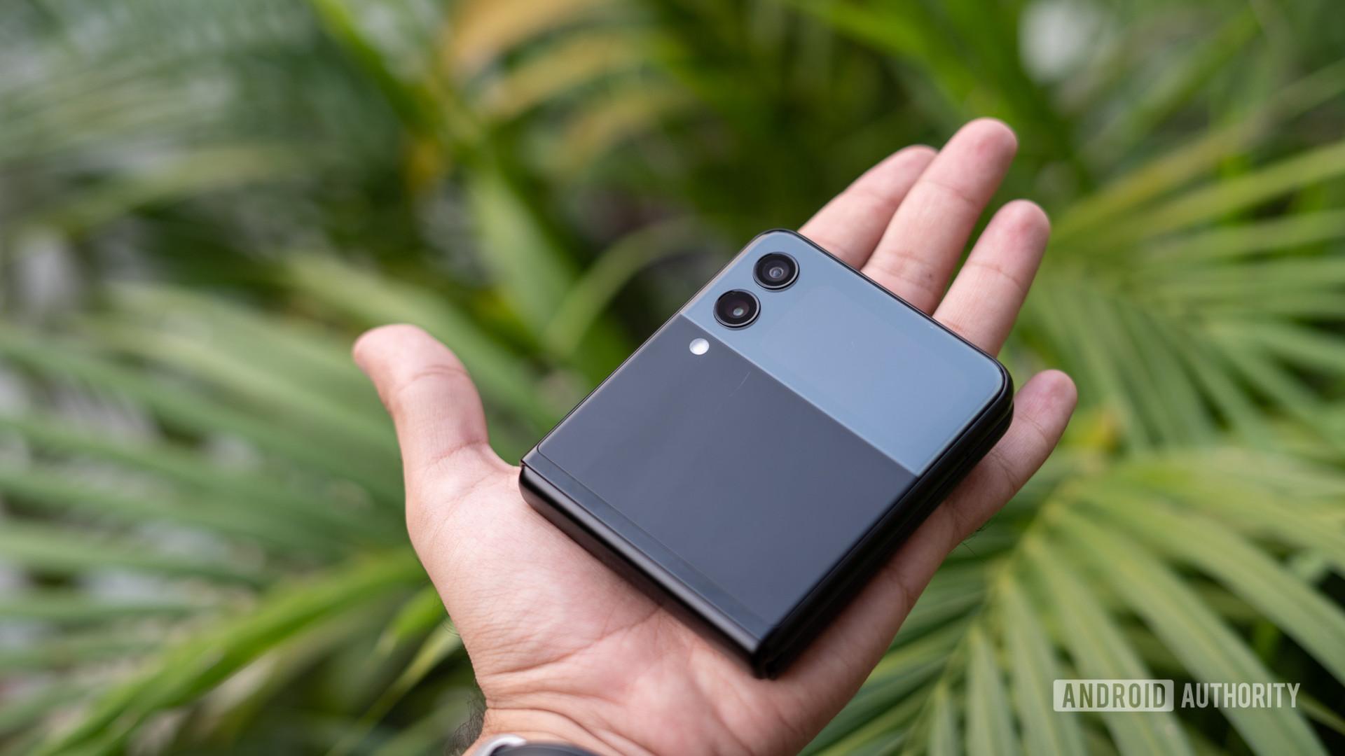 Samsung Galaxy Z Flip 3 in hand closed up