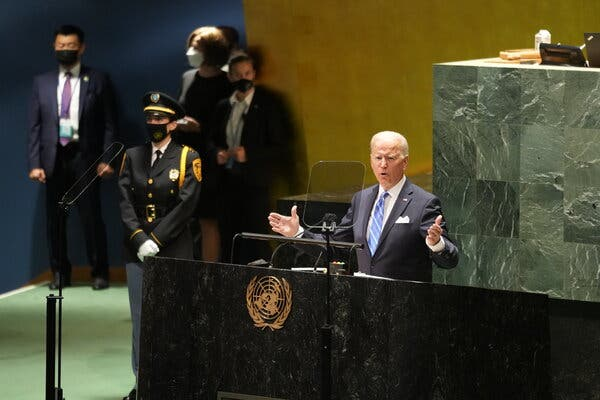 President Biden addressing the United Nations General Assembly on Tuesday.
