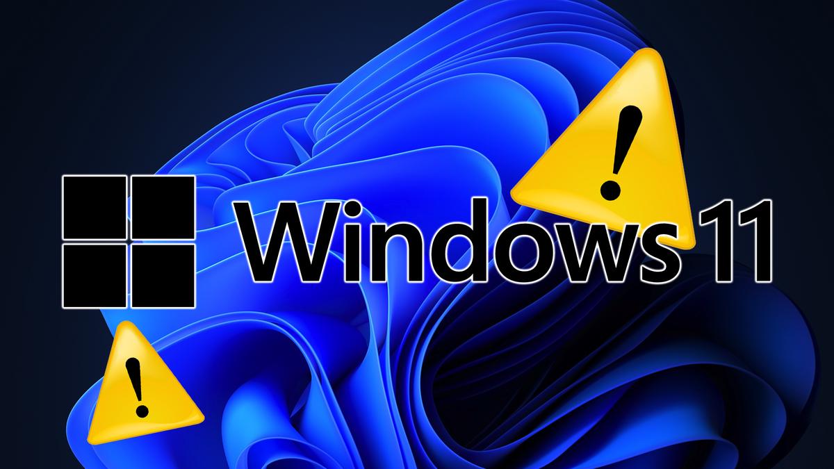 The Windows 11 logo with Windows XP alert icons.