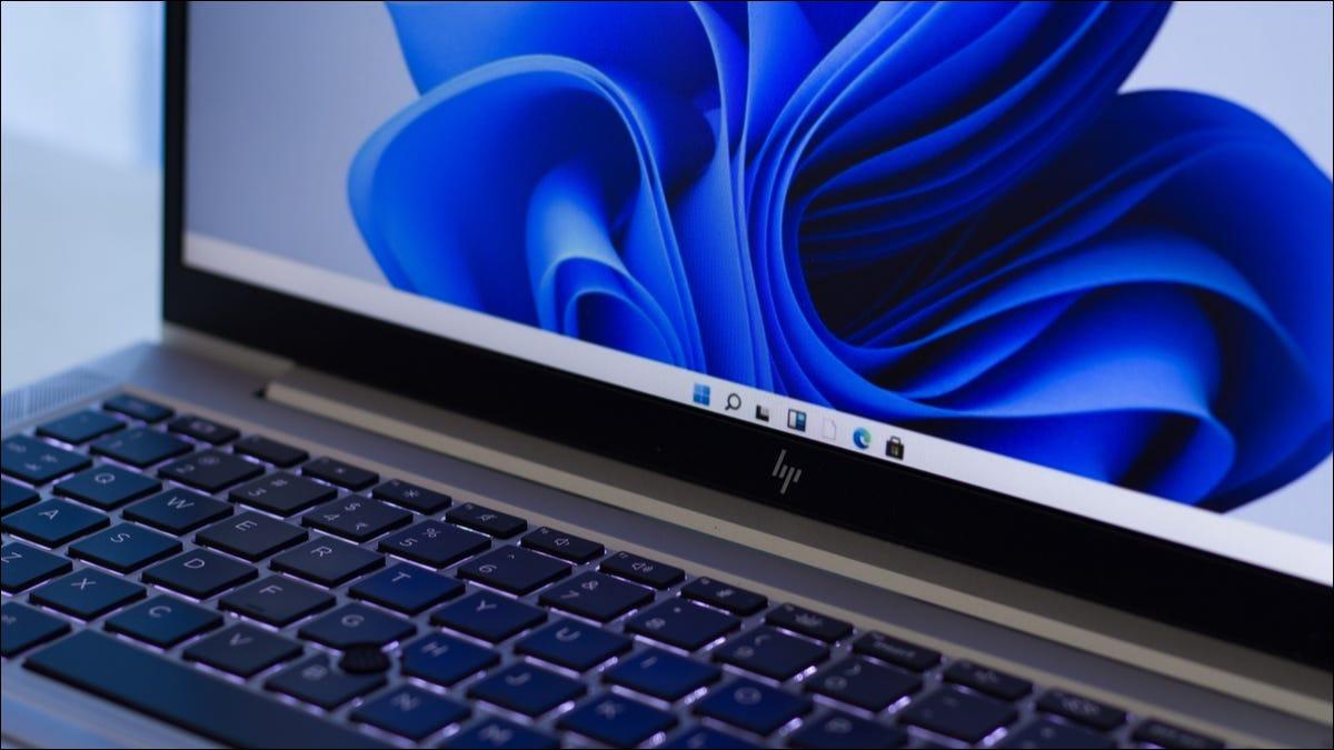 The taskbar on a Windows 11 laptop.
