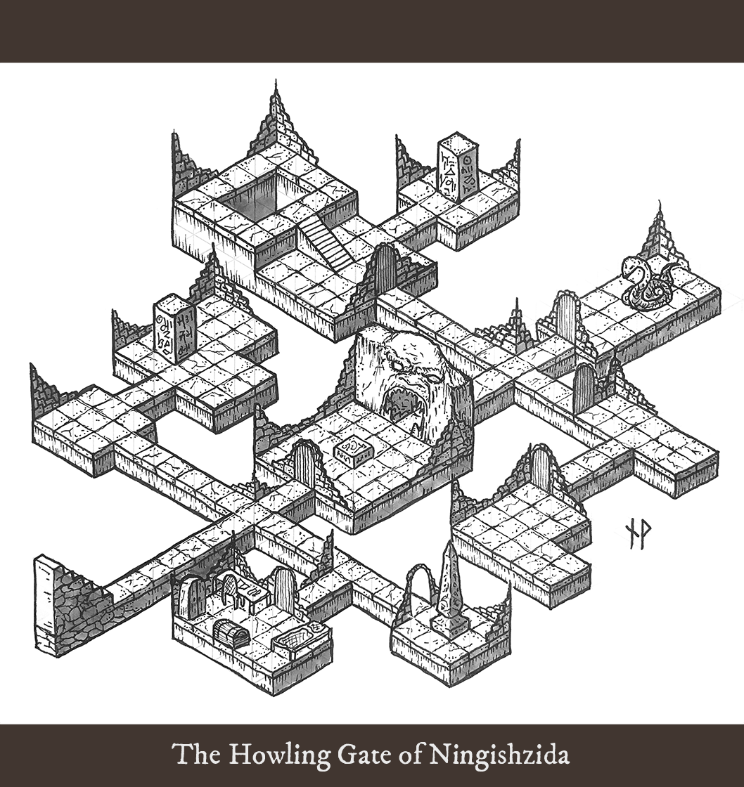 Isometric dungeon map – The howling gate