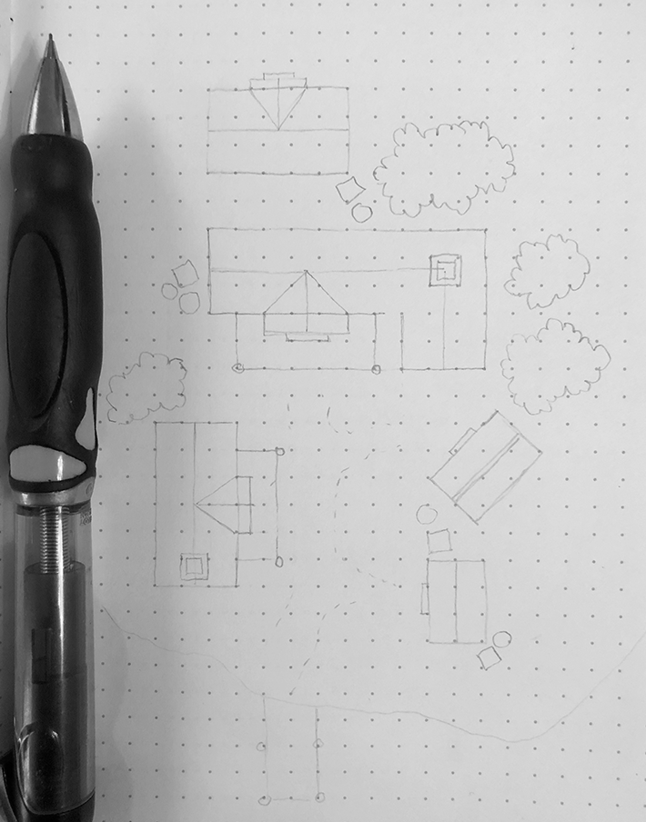 Step one: draw the rough outline with a mechanical pencil