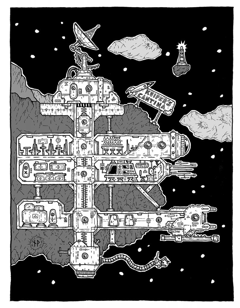 Vertical blueprint of Kuiper's Cantina