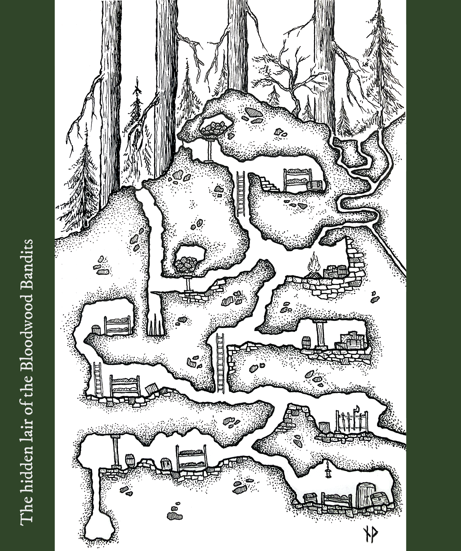 Vertical map of the lair of the Bloodwood Bandits