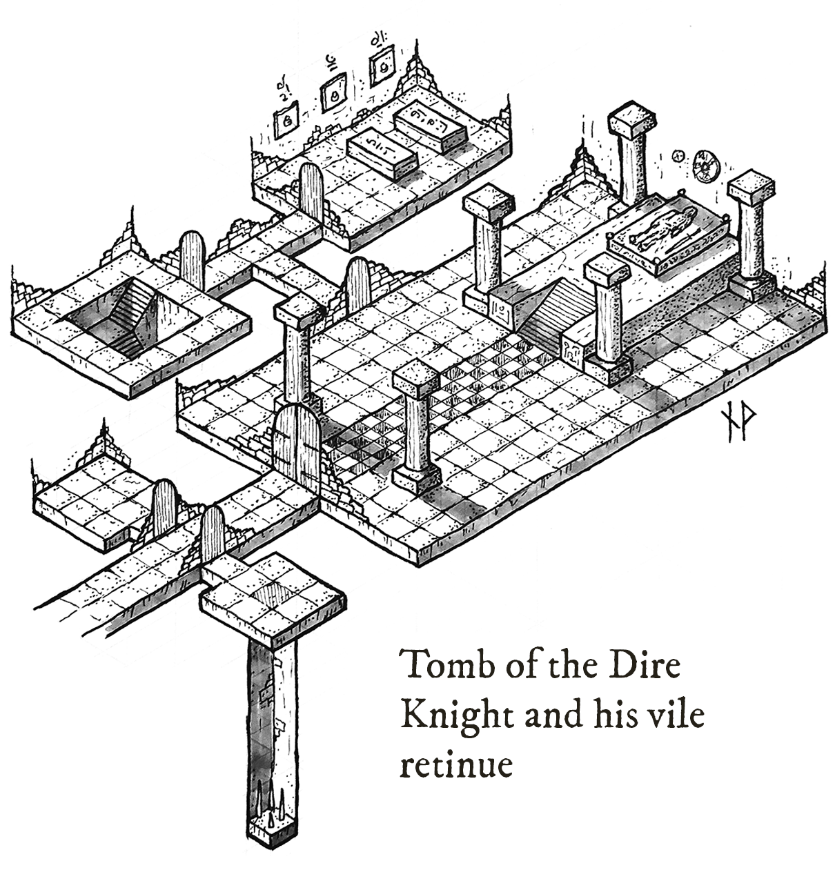 Isometric map of the tomb of the Dire Knight