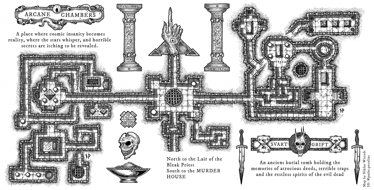 Dungeon map of arcane chambers and an ancient tomb