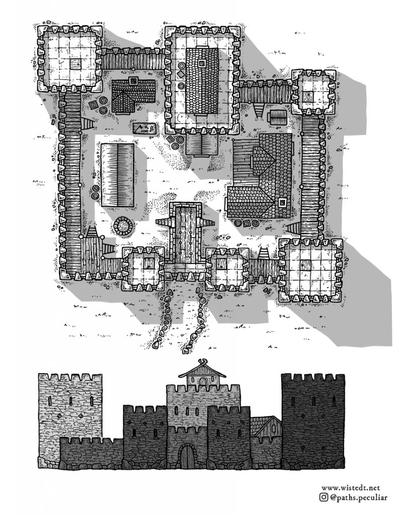 A fantasy medieval castle map