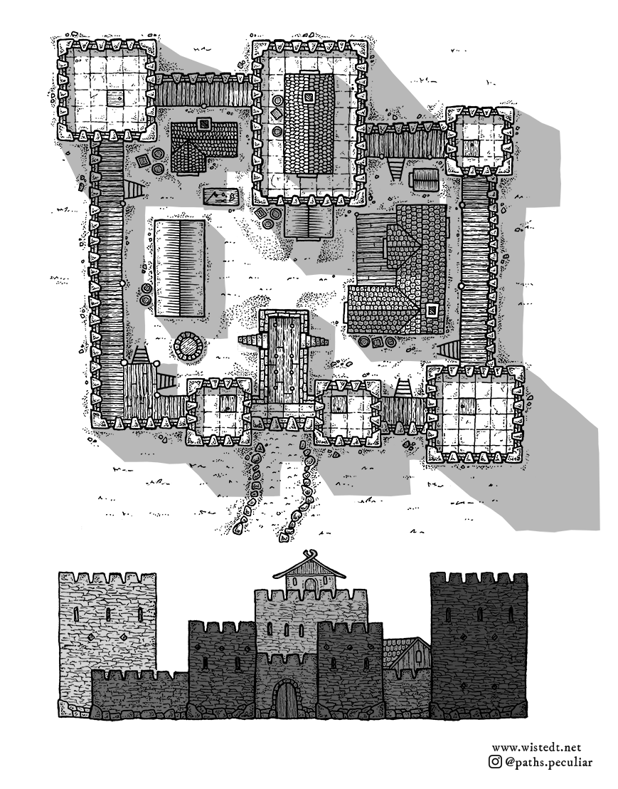 Medieval fantasy castle map