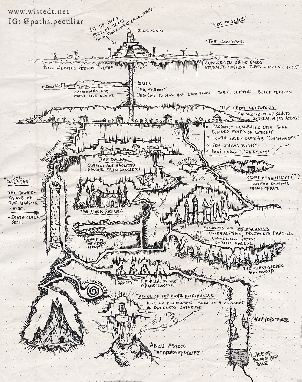 Vertical map of underdark necropolis