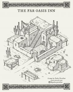 The Far Oasis Inn, isometric fantasy map