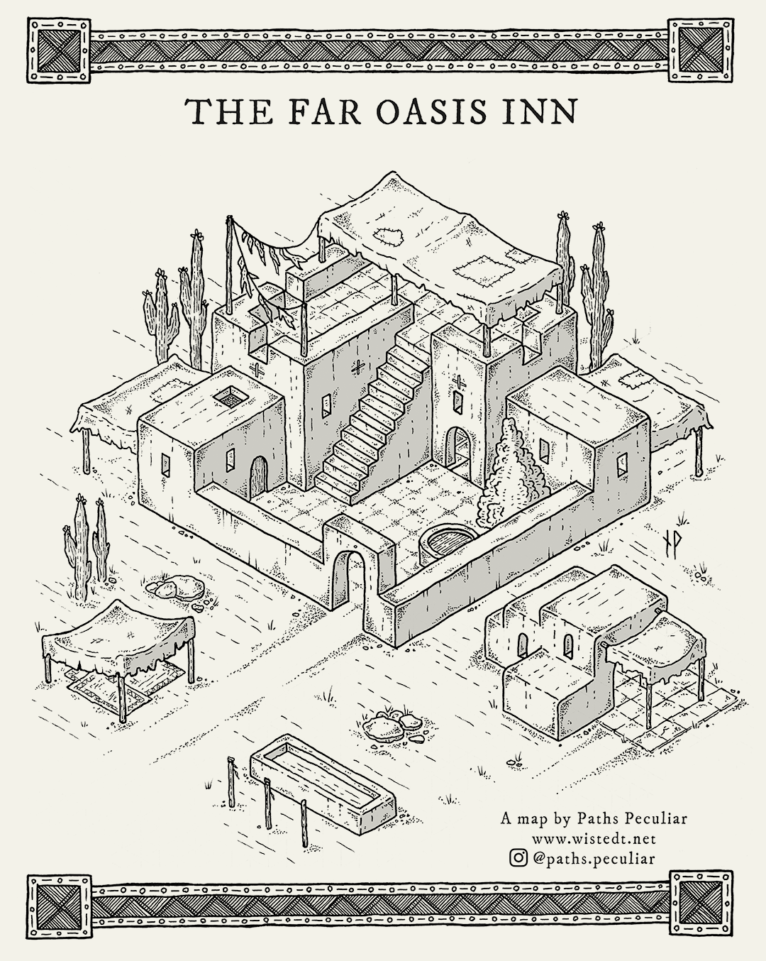 The Far Oasis Inn, isometric fantasy map