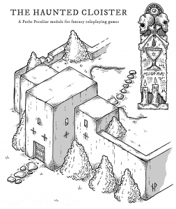 Isometric view of the haunted cloister gatehouse