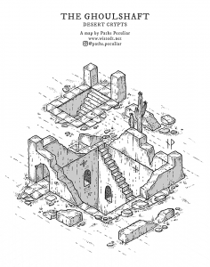Isometric map of the Ghoulshaft - ancient desert crypts