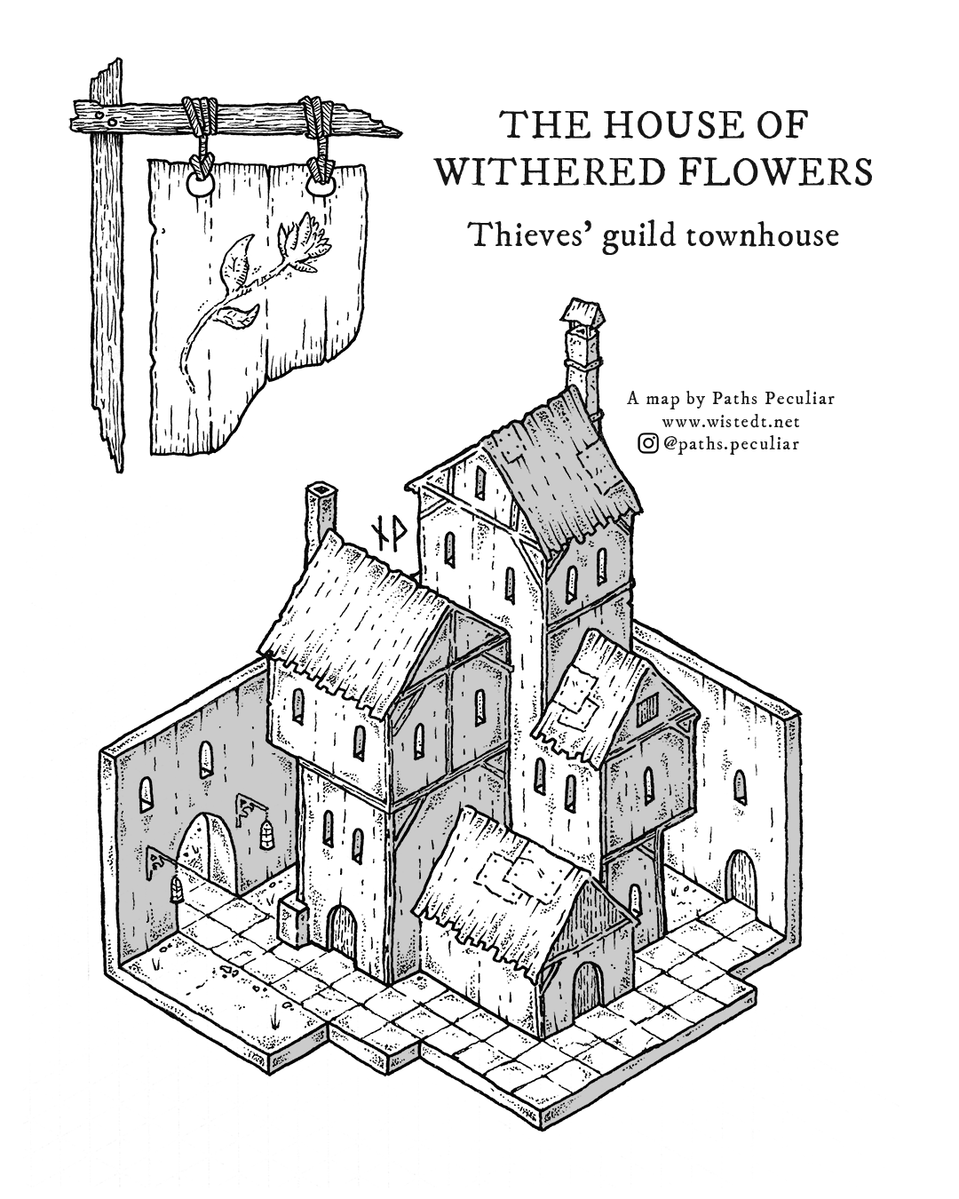Isometric map of a thieves' guild townhouse