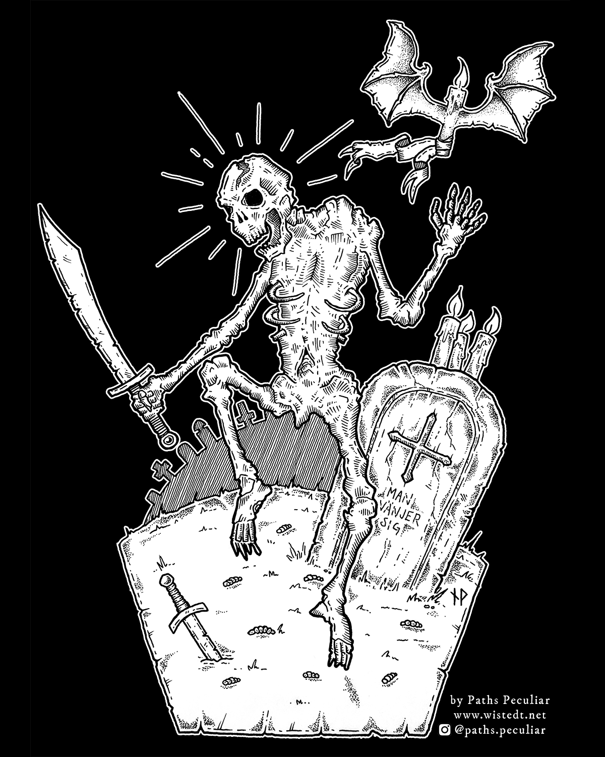 Danse Macabre – dancing skeleton in graveyard