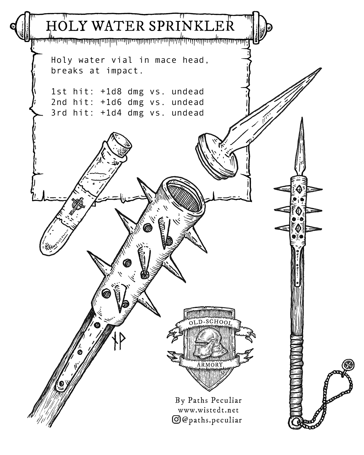 Image of a holy sprinkler mace weapon