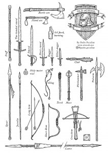 Old school armory weapon illustrations