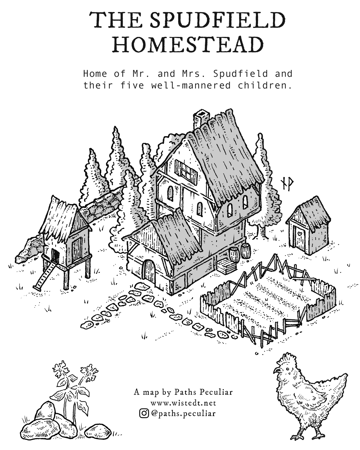 Isometric map of the Spudfield Homestead - fantasy medieval farm