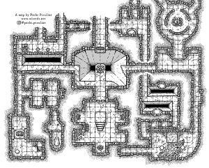 A black and white top-down dungeon map
