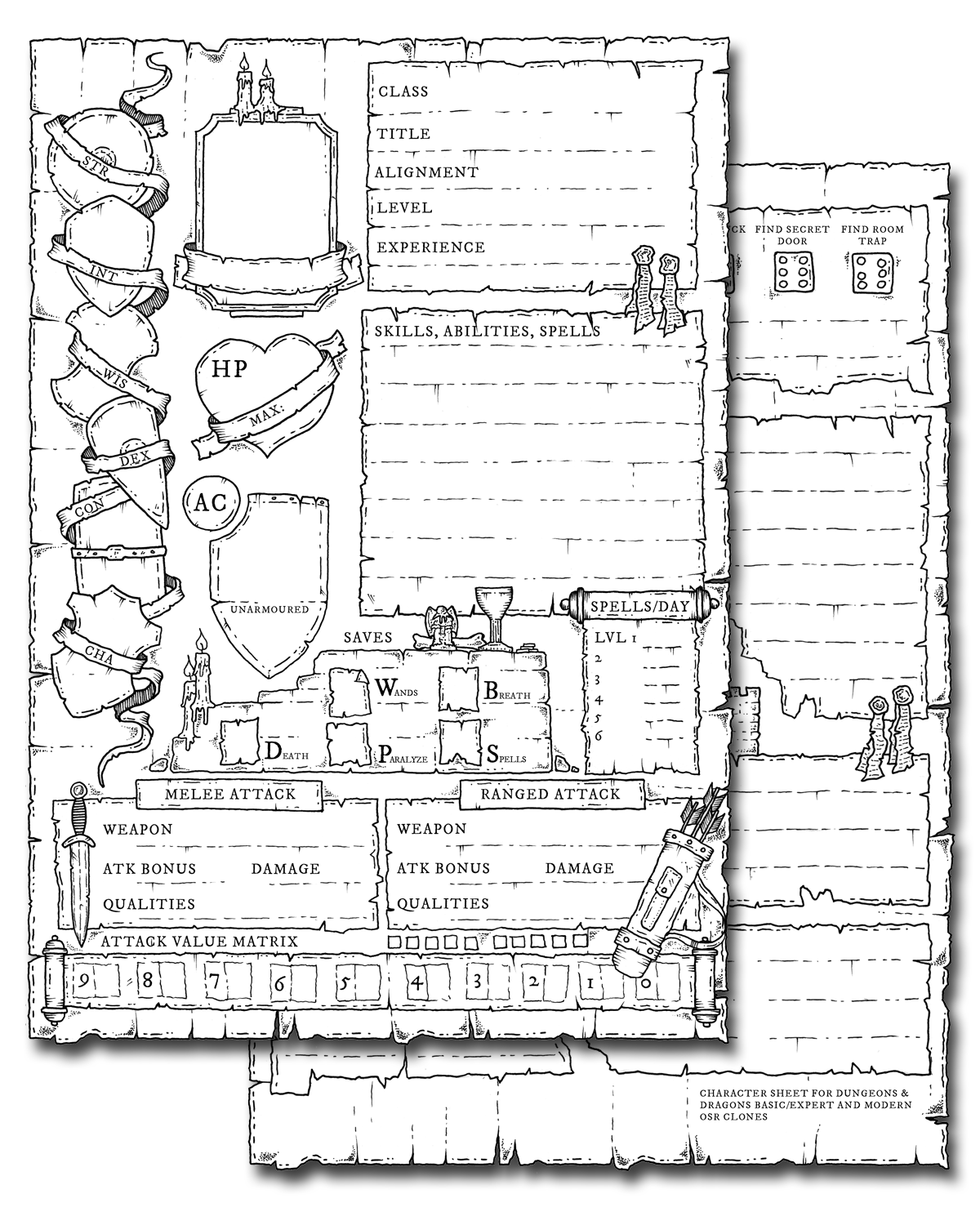 Hand drawn character sheet for D&D Basic/Expert