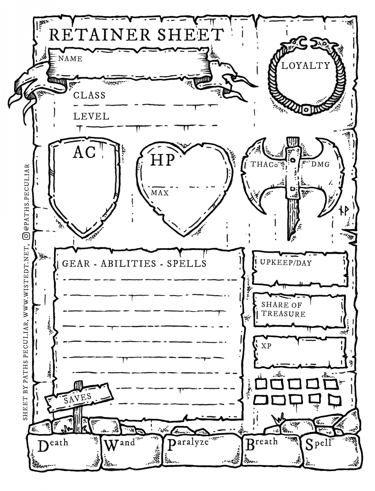 Retainer sheet for D&D B/X and Old-School Essentials